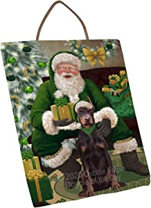 Doggie of the Day Christmas Irish Santa with Gift and Doberman Dog Wall Décor Hanging Photo Slate SLTH58331