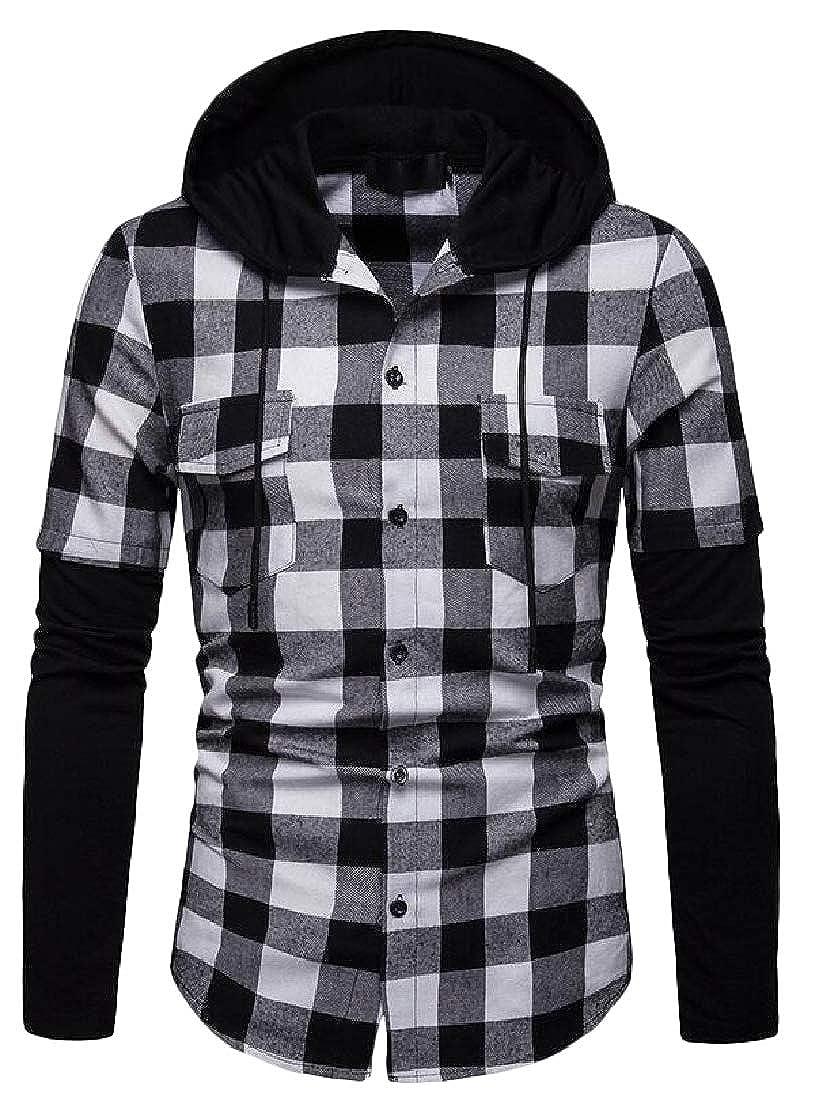C/&H Mens Spliced Shirt Checkered Long Sleeve Hooded Plaid Shirts