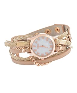 Loweryeah PU Leather Woven Chain Strap Rose Gold Dial Bracelet Watch 56.5cm (Beige)