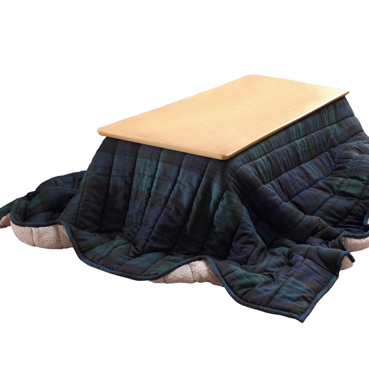 フラットヒーター折れ脚こたつ アロー スクエア(ナチュラル)+保温綿入り布団チェックタイプ グリーン 2点セット こたつ本体/スクエア(ナチュラル) 布団バリエーション/グリーン B01M0AJV6L