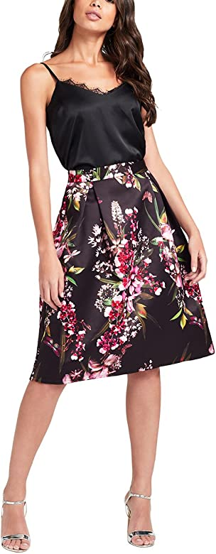 Lipsy Mujer Falda de graduación de Flores de Conjunto Negro EU 46 ...