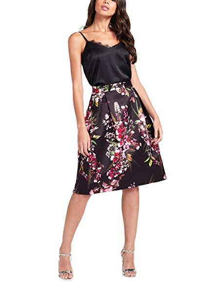 Lipsy Womens Floral Co-ord Prom Skirt Black 0