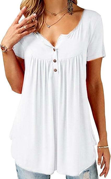Camisetas Oversize Mujer Camiseta Escote V Chica Camisas Manga Corta Mujer Blusas Verano Playeras Asimetricas Anchas Señora Top Basica Blusa Tops Camisa Bonitas Deportivas Elegantes: Amazon.es: Ropa y accesorios