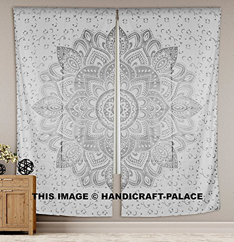Indian Mandala Tapestry Room Curtains Boho Chic Silver Ombre Mandala Window Curtains Panels Pair 82 Length Set of 2 By Labhanshi