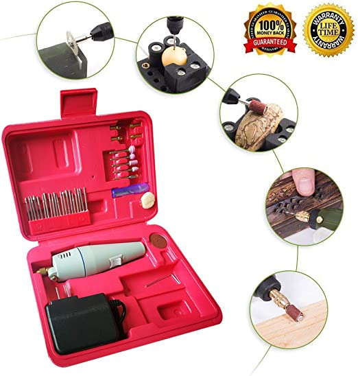 2A Power Supply Included Yakamoz 0.7-1.2mm Mini Micro Electric Aluminum Hand Portable Handheld Drill with 15pcs Drill Bits