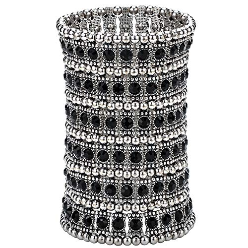 Hiddleston Multilayer 6 Row Jewelry Gothic Stretch Bracelet Sleeve Arm Cuff Rocker Wristband Heavy Metal Bobo Halloween Costume Women Accessory -