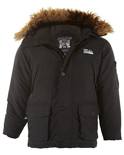 Amazon.com | First Down Puffer Goose Down Coat Hooded Mens Style ...