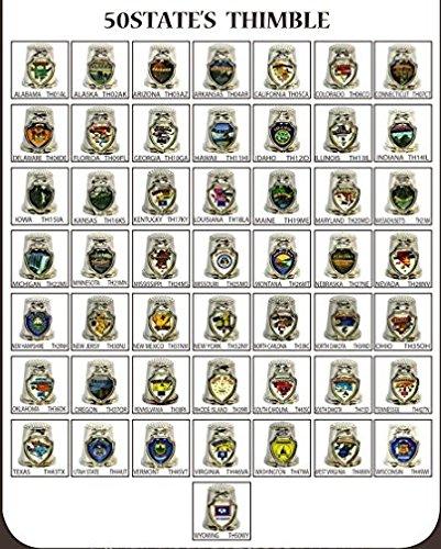 - 50 State Souvenir Thimbles (50+1 Nos) Metal Zinc Alloy (Each State One Thimble) + W.DC. Free