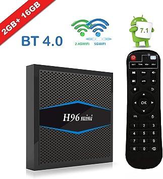H96 Mini Android 7.1 TV Box] EstgoSZ® Nueva versión Android TV Box 2G 16G Amlogic CPU Soporte 2.4G/5G Dual Wifi/100M LAN/BT 4.0/3D /H265 4K Smart TV Box: Amazon.es: Electrónica