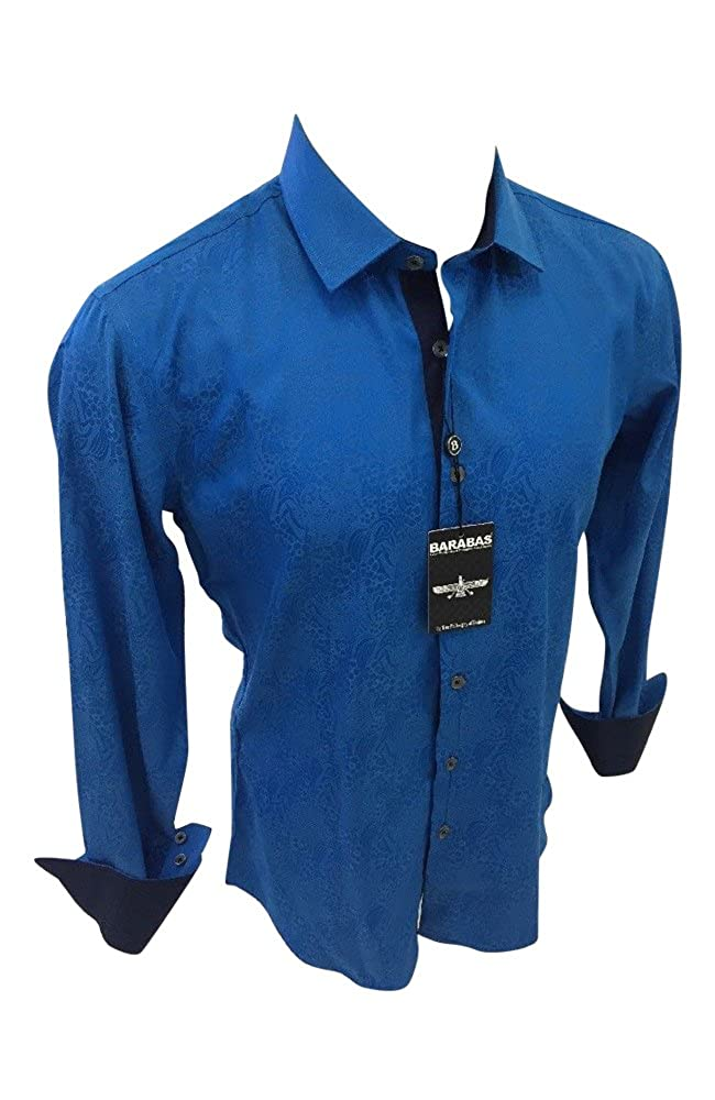 Mens BARABAS Classic Fit Shirt Blue with Floral Paisley Print Button Front