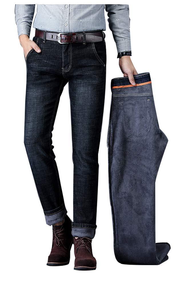 Men Fleece Lined Skinny Jeans Winter Slim Fit Thicken