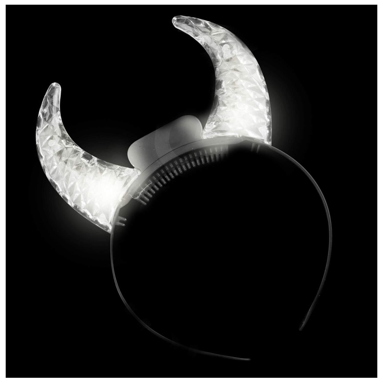 Lumistick LED Light Up Clear Crystal Devil Horns - Multicolored (25 Pack)
