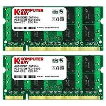 Komputerbay 8GB (2x 4GB) DDR2 667MHz PC2-5300 PC2-5400 SODIMM CL5 200-Pin 1.8v Unbuffered NON-ECC DDR2-667 Memory Modules