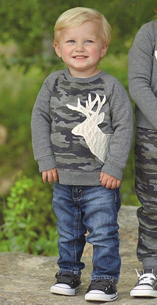 Mud Pie Boys Little Deer Collection Camo Sweatshirt with Stag Deer Applique 12-18 Months 1052142 Sm