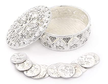 Joice Gift Silver Metal Round Rhinestone Wedding Arras Box Set with Coins