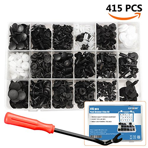 415 Pcs Push Retainer Clips Kit - 18 MOST Popular Sizes Auto Push Rivets Set - Plastic Car Clips & Fasteners Assortment For GM Ford Toyota Honda Chrysler -Fastener Remover Included
