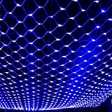 ZRUI Led String Lights Fairy Net Mesh Waterproof 8 Models 60x60 inches Dia.1.6mm Stronger Decorative (Blue)