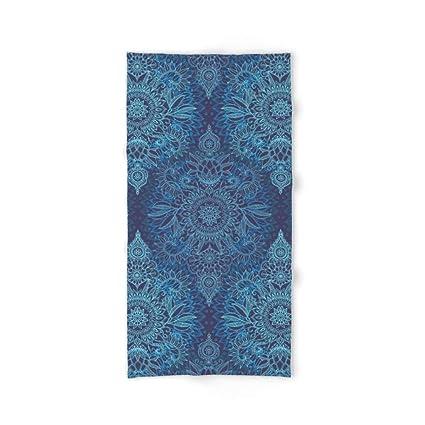 Toalla de baño Aqua, Cobalt Blue & Purple Protea Doodle con Estampado DE 31,