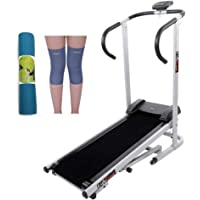 Lifeline Gym Machine Manual Treadmill for Home Use | Bundles with Yoga Mat (6mm) and Knee Cap (Four Way Stretch)