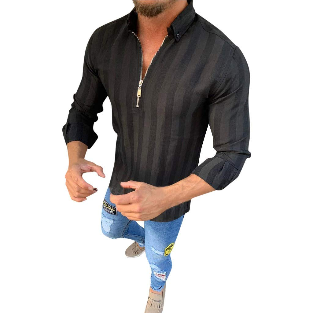 Men Shirts Long Sleeve Regular Fit with Zipper Striped Casual Comfortable Business Workout Autumn Blouse Tops Black by Letdown_Men Blouse