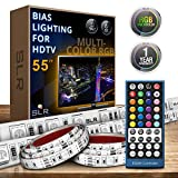 SLR Lighting TV Backlight Strips – Bias Lighting for Smart TVs, Plasma Screens, Big Screen Televisions, Computer Monitors – Includes Remote, Multiple Color LED Strip & Length Options – [35-55 in. TVs]