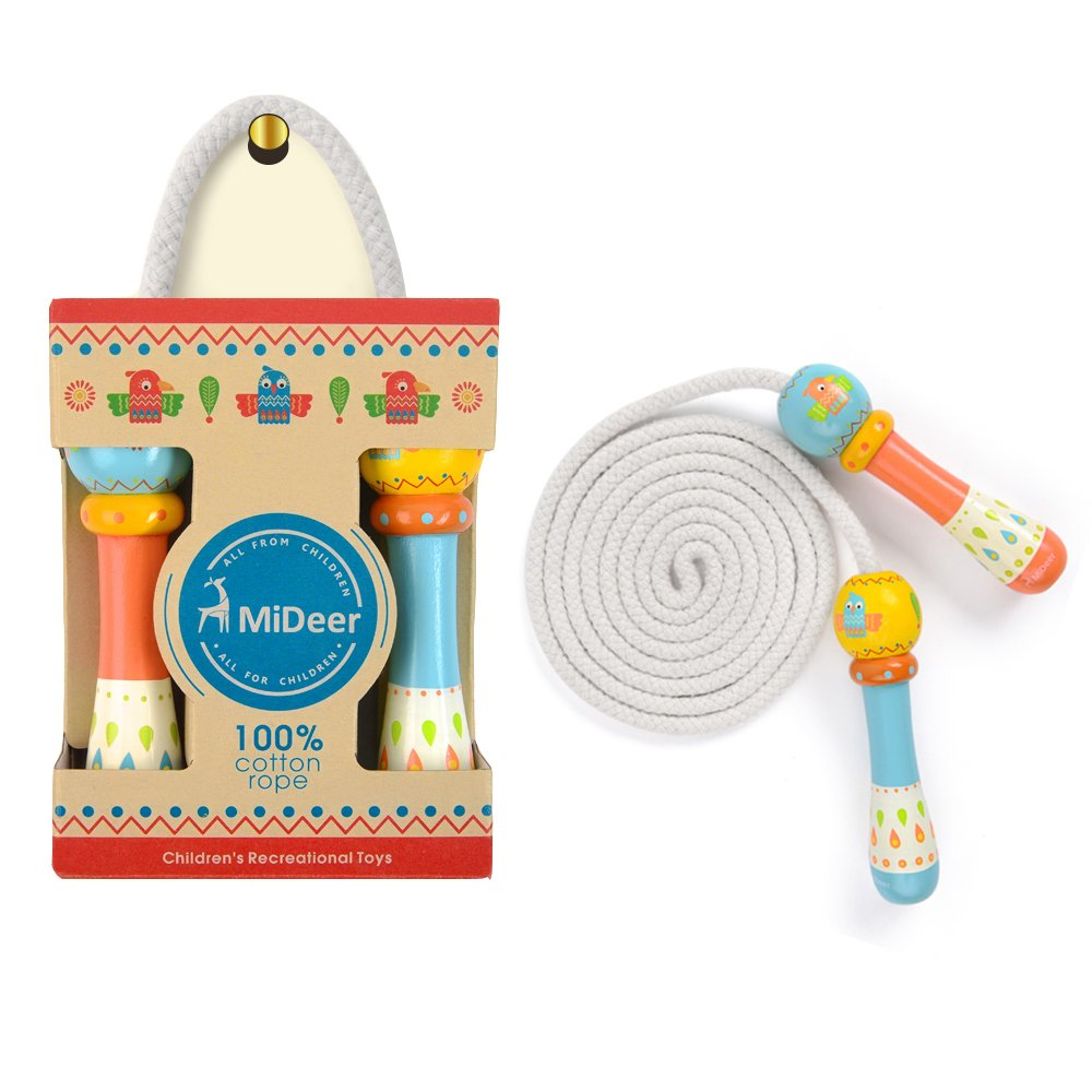 MiDeer Jump Rope for Kids, Adjustable, Lightweight, Wooden Handle and 100% Cotton Tangle- Free Cotton Skipping Rope- Best for Fitness and Jumping Exercise