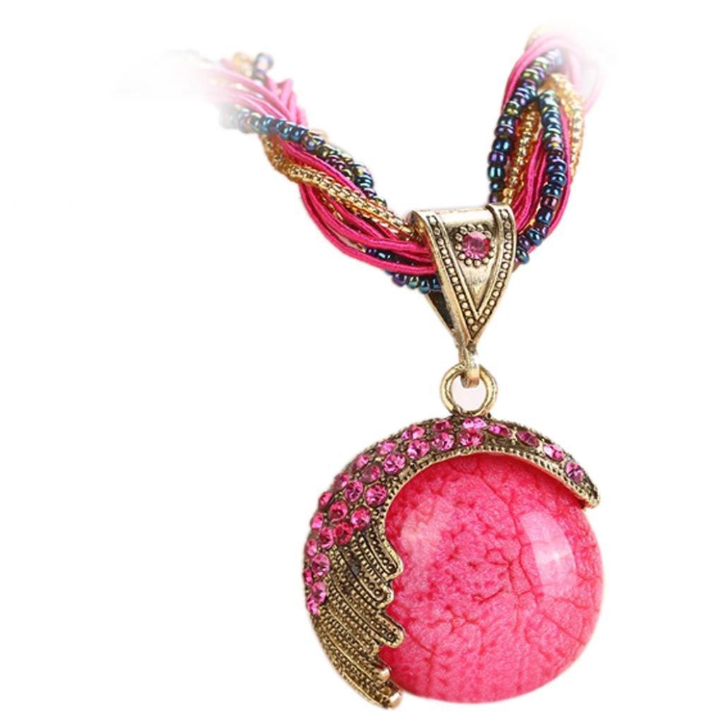iLH Necklace,ZYooh Women Fashion Bohemian Jewelry Statement Necklaces Rhinestone Gem Pendant Collar Romantic Jewelry Gift (Hot Pink)