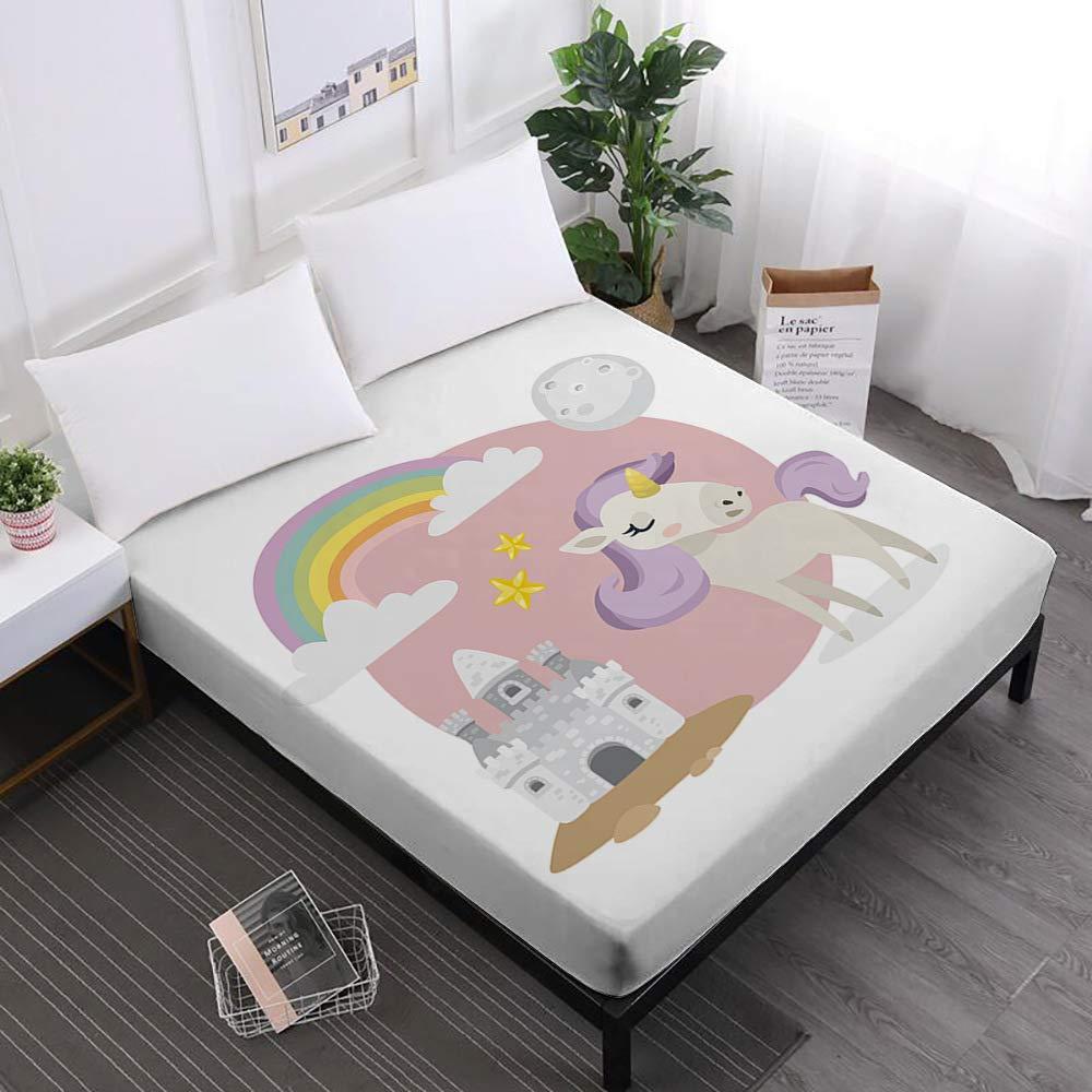 JessyHome Unicorn Full Fitted Sheet,Cartoon 3D Bedding Sheet
