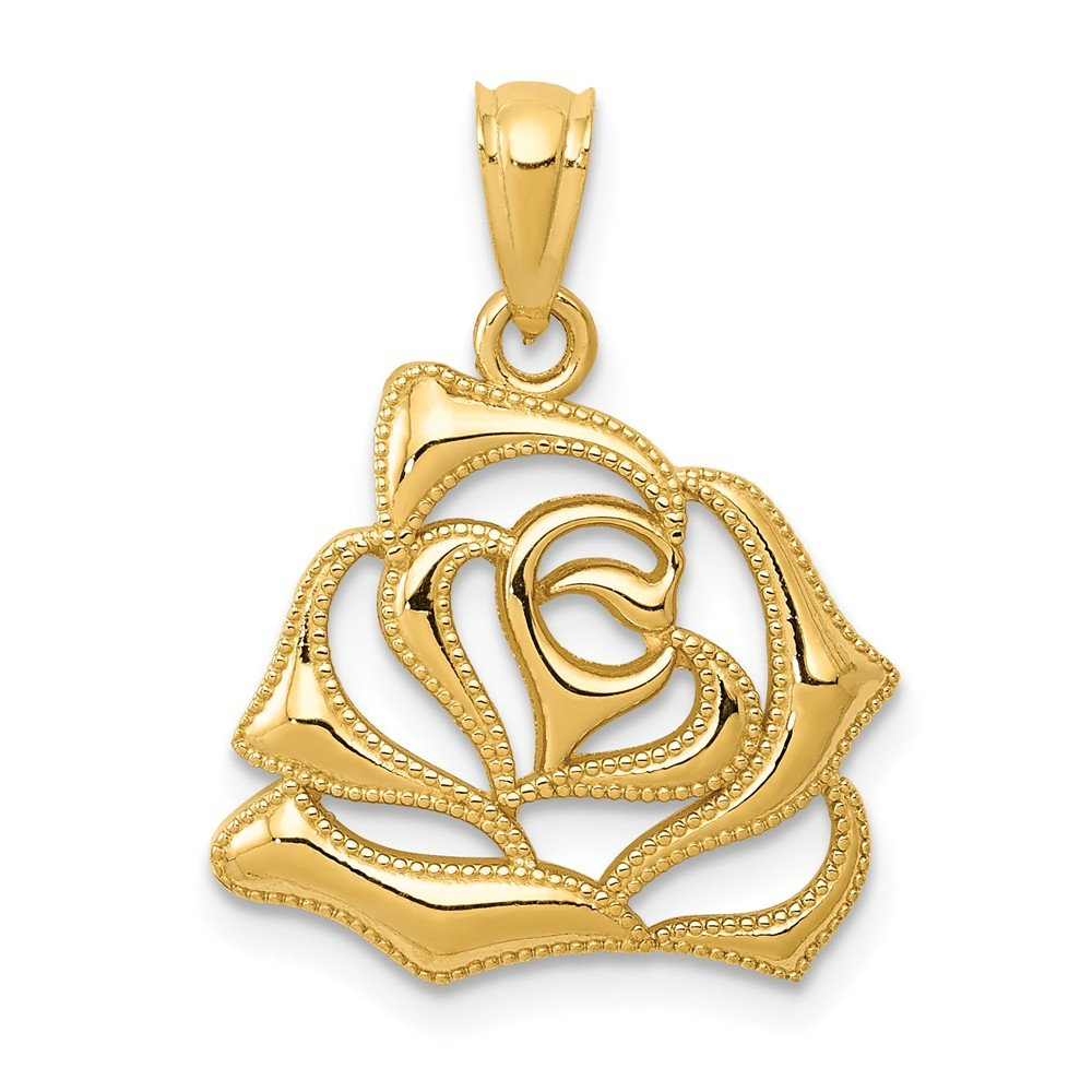 14k Yellow Gold Polished Open Rose Pendant