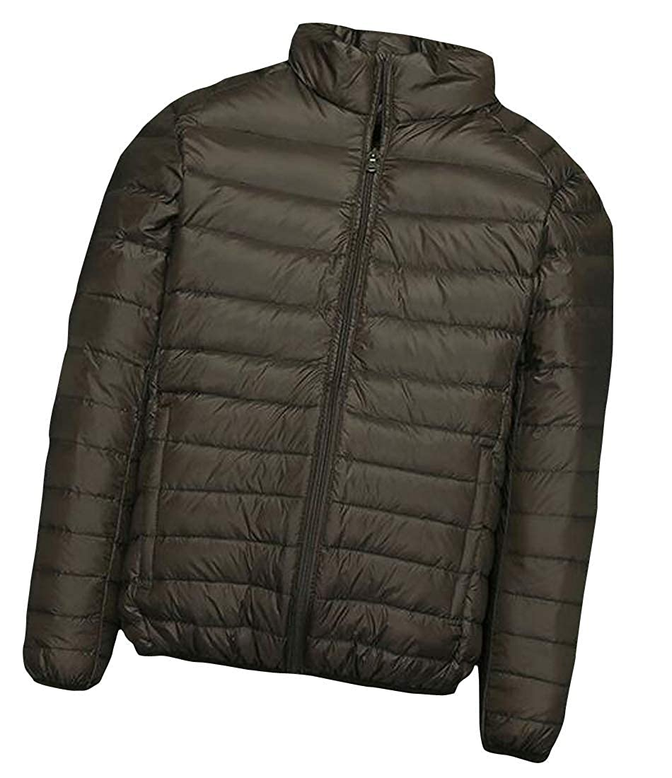 Joe Wenko Mens Lightweight Puffer Stand Collar Zipper Front Packable Down Jackets Coat