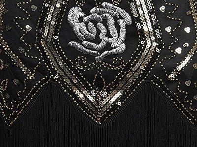 Vijiv 1920s Vintage Sequin Embellished Fringed Gatsby Flapper Dress With Sleeves