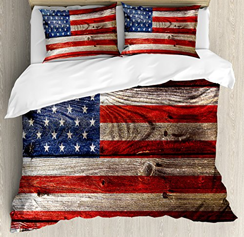 Ambesonne Rustic American USA Flag Duvet Cover Set Queen Size, Fourth of July Independence Day Weathered Retro Wood Wall Looking Country Emblem, Decorative 3 Piece Bedding Set with 2 Pillow (3 Piece Set Headboard)