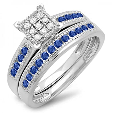 Ensemble Bague et Alliance Argent Fin 925 1000 Bleu Saphir Diamants ... 79c8679af026