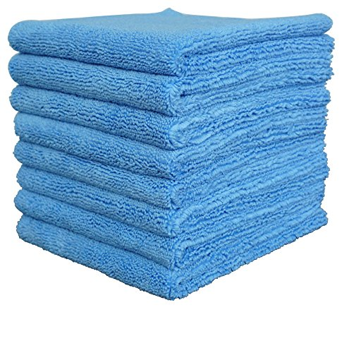 Edgeless Microfiber Polishing Cloths - Gryeer Professional Grade Edgeless Microfiber Towels, Dual-Side Car Drying Washing Detailing Cloths, Thick and Super Soft Auto Buffing Waxing Polishing Towel, 450 GSM, 16 x 16 inch, Pack of 8, Blue