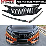 MotorFansClub Front Grille For 2016 17 Honda Civic JDM RS Turbo Piano Black Honeycomb GT Style