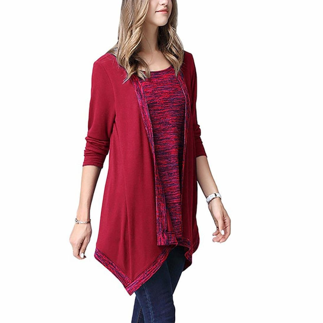 Red, Size:M Womens Irregular Long Sleeve 2-in-1 Vest Cardigan with ...