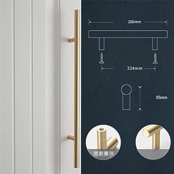 2 X Aleación de aluminio Barra T Tirador de la cocina Tirador de la puerta Tiradores de la cocina Perillas del gabinete del dormitorio Tiradores, Dorado, 224MM: Amazon.es: Bricolaje y herramientas