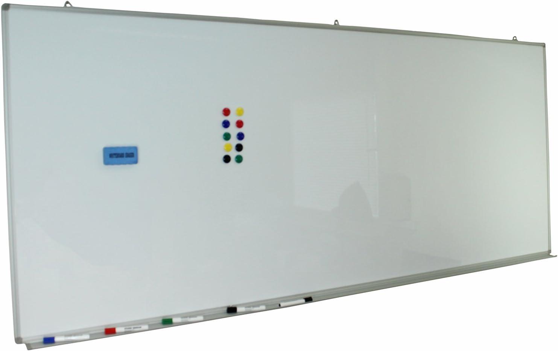 magnetisch Dynamic-Wave Whiteboard 90cm x 60cm mit Alurahmen und Clipfunktion trocken und nass abwischbar 90 60