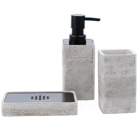 SATU BROWN Bathroom Accessories Set 3 Pieces Include Soap Dispenser,  Toothbrush Holder, Soap Dish