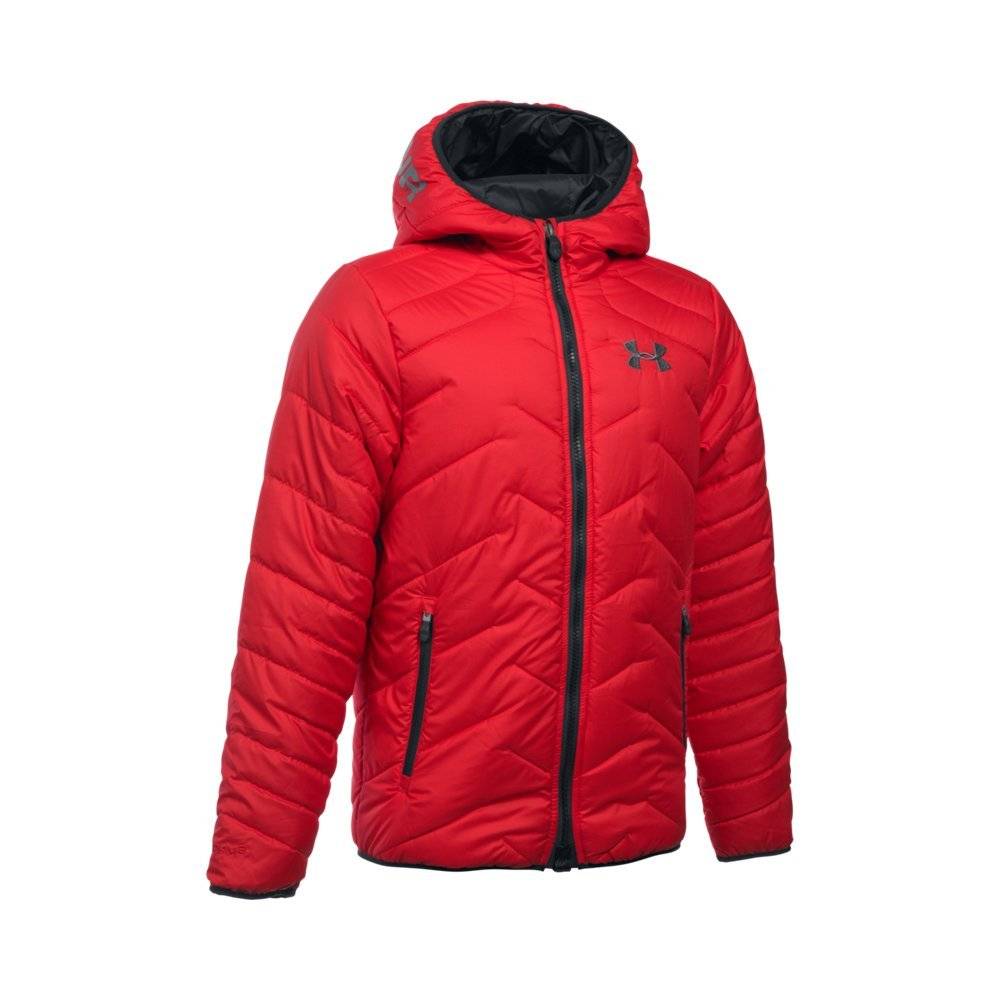 Under Armour Outerwear Boys ColdGear Infrared Hooded Jacket, Red, Youth Medium