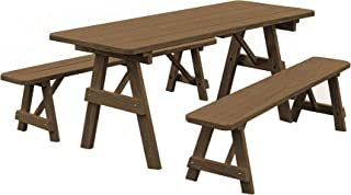 product image for Pressure Treated Pine 6 Foot Picnic Table with Detached Benches -Mushroom Stain