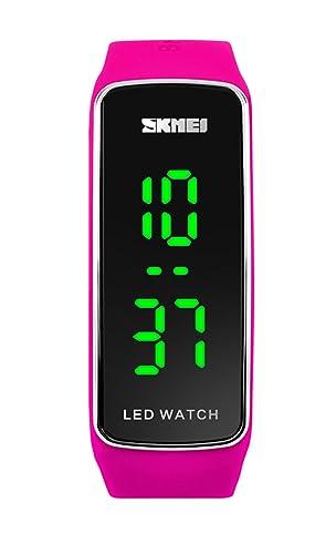 la niña llevó el reloj digital de los deportes de la banda de silicona de color rojo reloj con estilo para estudiantes de los niños par regalos: Amazon.es: ...