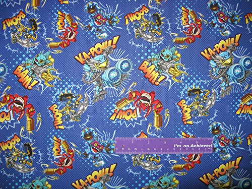 SKYLANDERS Video Game Gil Grunt Jet-Vac Toss Blue Cotton Fabric BY THE HALF YARD