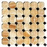 Wallandtile Honey Onyx Octagon Polished Mosaic Tile