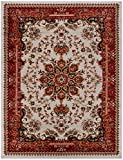 Nevita Collection Isfahan Persian Traditional Design Area Rug Off-white Red (Also Available In Red, Beige Blue, Black, Navy Colors) (Off-white Red, 7′ 10″ x 9′ 10″) For Sale