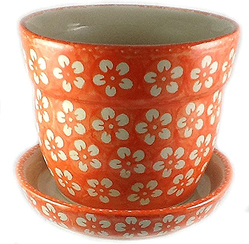 Polish Pottery Orange Flower Pot Planter with Drip Tray by Poughkeepsie Polish Pottery & More