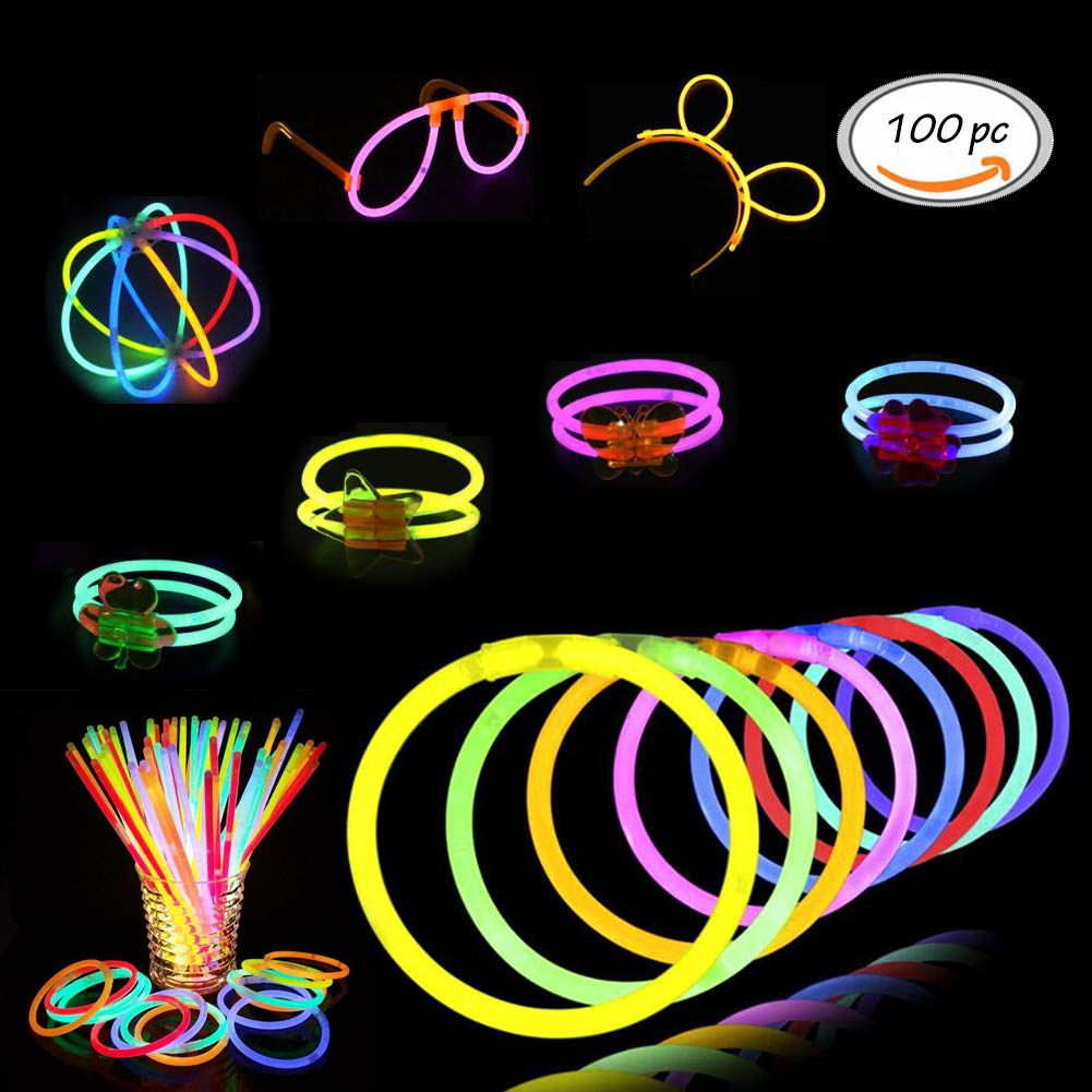 TOULLGO Glowsticks Dark Light Sticks 100 Light up Toys Glow Stick Bracelets Mixed Colors Party Favors Supplies Tube of 100 Perfect for Birthdays Parties Performances Halloween More