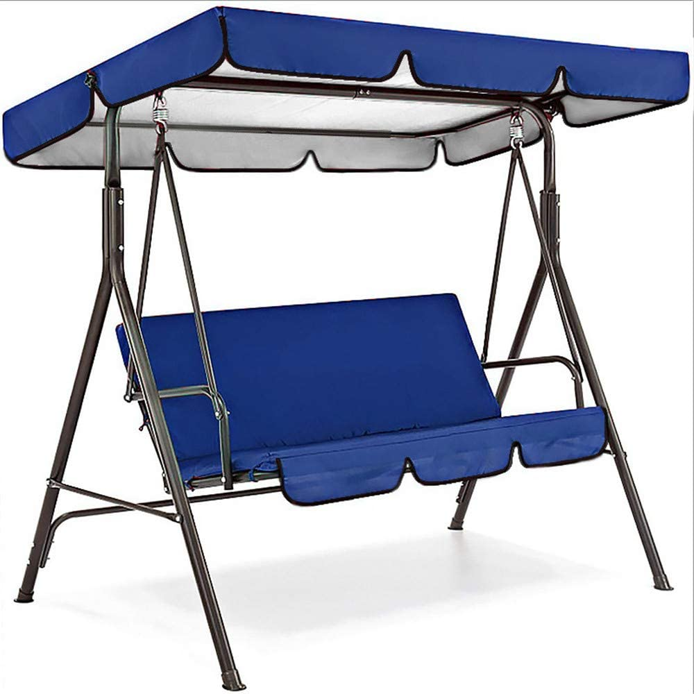 DGSD Replacement Canopy for Swing Seat Chair,Patio Swing Cover Set Waterproof Swing Canopy Seat Top Cover + Swing Seat Cover for Garden Patio Swing,Blue,16411415cm