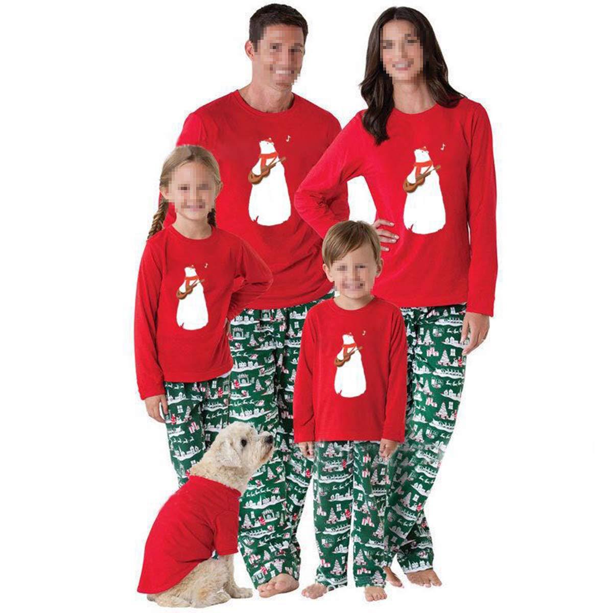 Legendeiu Ensemble de Pyjama de No/ël pour Famille avec v/êtements Assortis pour la Famille et la Maman