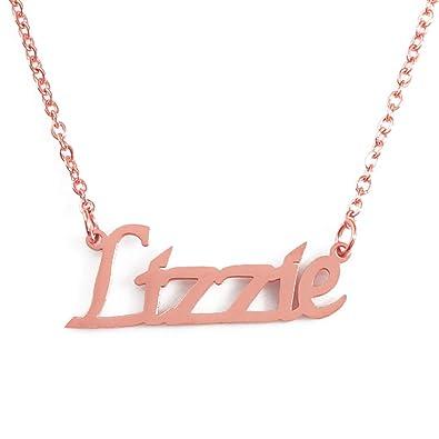 17f173d9962c0 Amazon.com: Kigu Lizzie Custom Name Necklace Personalized - 18ct ...